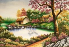 Gemstone painting - small happy house