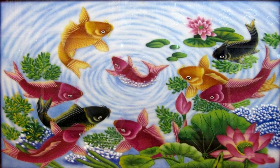 Gemstone painting - nine fish