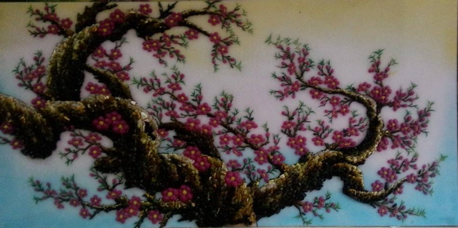 Gemstone painting - peach blossom 1