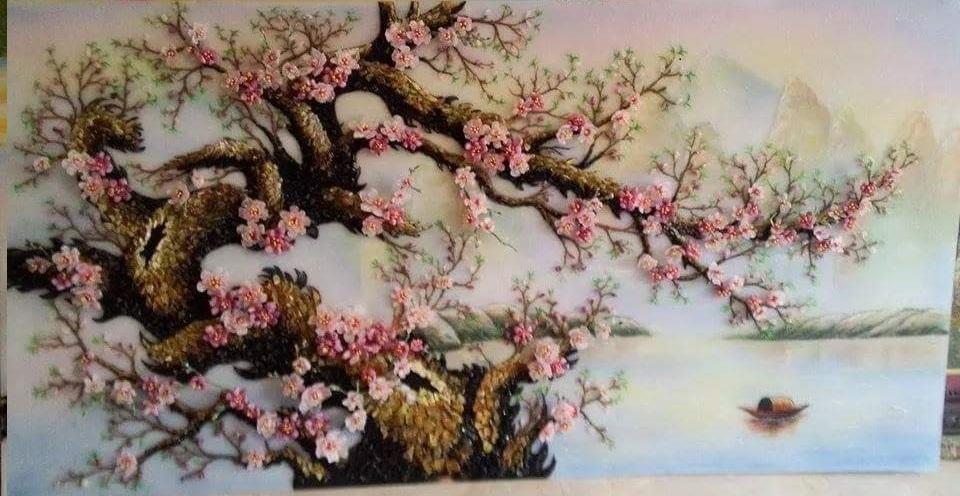 Gemstone painting - peach blossom 9