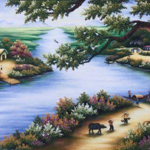 Gemstone painting - river's village Vietnam