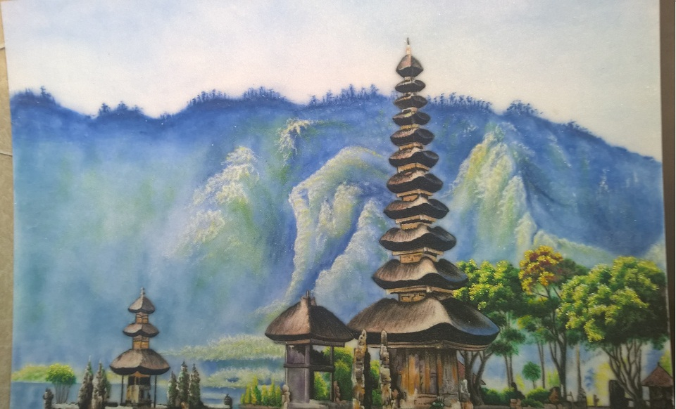 Gemstone painting Japan landscape