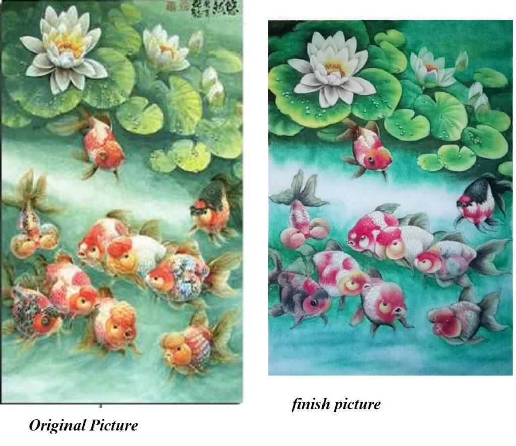 Gemstone painting Japan nine fish