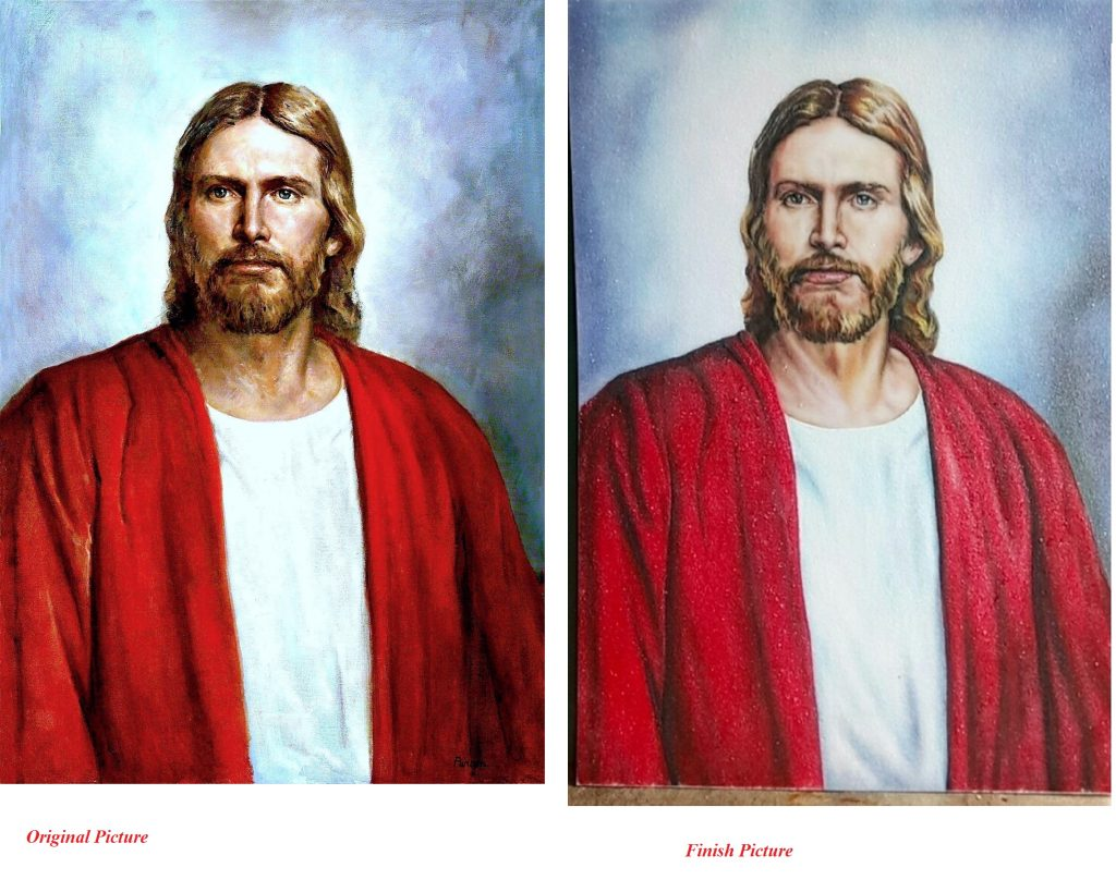 Gemstone painting portraits Jesus Christ