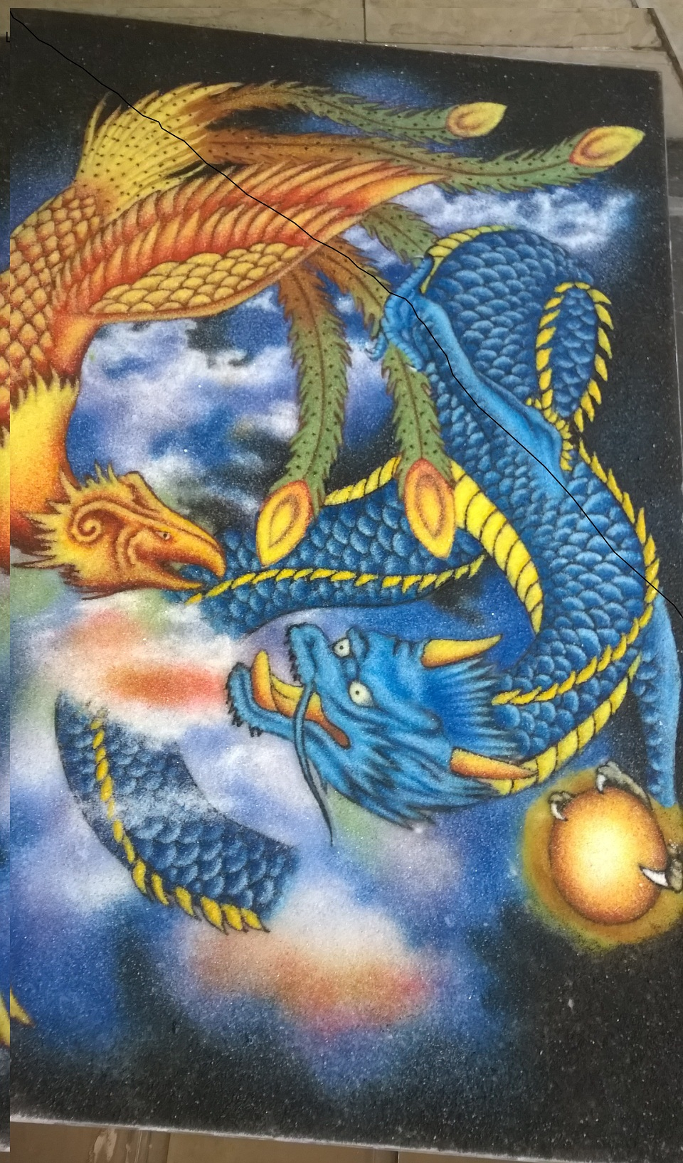 Gemstone painting dragon and phoenix 1